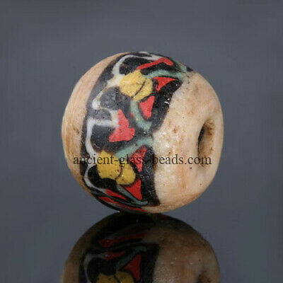 Ancient Roman beads: intact genuine Egyptian mosaic glass lotus bead,1 century