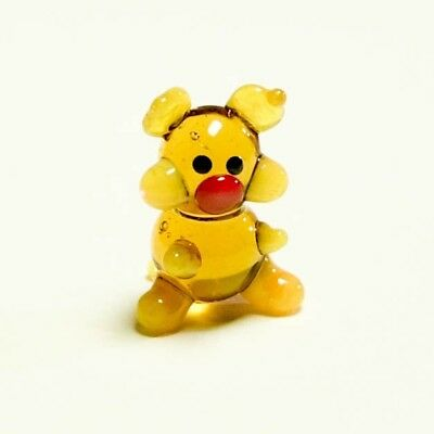 Tiny Original Blown Glass Figurine Pig yellow glass Murano handmade home decor.