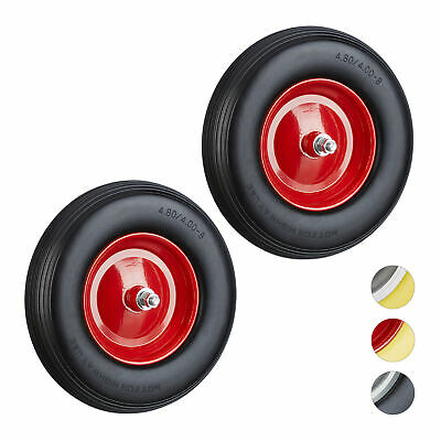 2 x Solid Rubber Wheelbarrow Tyre with Axle, Spare Tire, Steel Rim, Black-Red