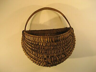 Antique Oak Splint Woven Wall Basket