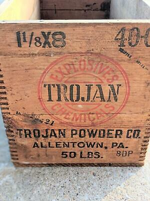 Antique Trojan Powder Co. Wooden Crate, Explosives Box Trojan Chemical