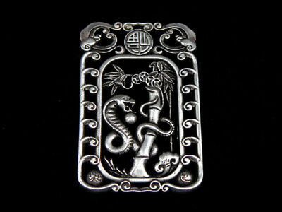 Tibetan Silver Highly Detail Crafted Pendant Zodiac Snake w/ Bats Blessing FU