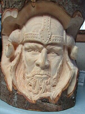 Viking Head--hand carved--wooden
