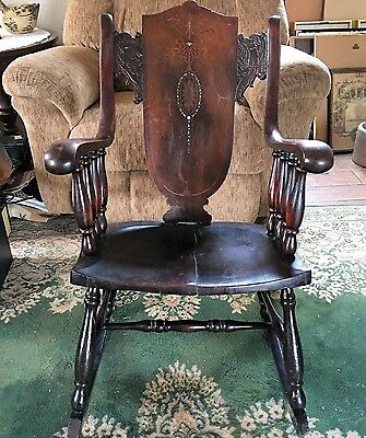 Beautiful Antique Wood  Adult Rocking Chair