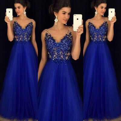 UK Womens Mesh Long Formal Wedding Evening Ball Gown Party Prom Bridesmaid Dress