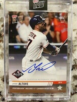 2019 Topps Now Alds Card Auto Card /99 Astros Jose Altuve #998A Ps Hr Record
