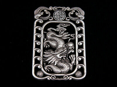 Tibetan Silver Highly Detail Crafted Pendant Zodiac Dragon w/ Bats Blessing FU