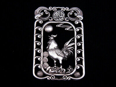 Tibetan Silver Highly Detail Crafted Pendant Zodiac Rooster w/ Bats Blessing FU