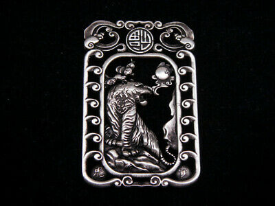 Tibetan Silver Highly Detail Crafted Pendant Zodiac Tiger w/ Bats Blessing FU