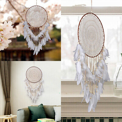 16'' Lace Dream Catcher with Feathers Wall Car Hanging Decor Ornament Handmade