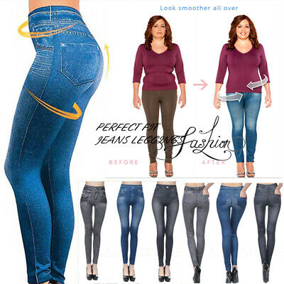 Perfect Fit Jeans Leggings- Plus Jeans Lady Denim Faux Jean Pants Sexy Women US