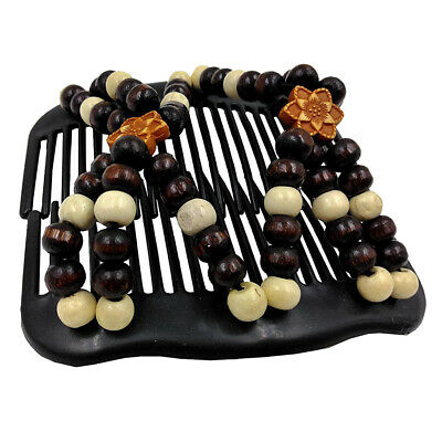 Womens Magic Hair Comb Double Slide Flower Wooden Beads Elastic Hairpin Comb