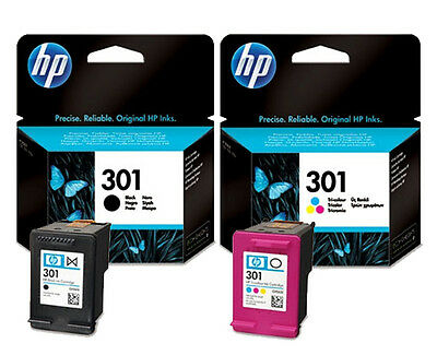 Original Pack Of 2 Hp 301 Colour & Black Inks 1St Class Postage 2 Year Guarantee