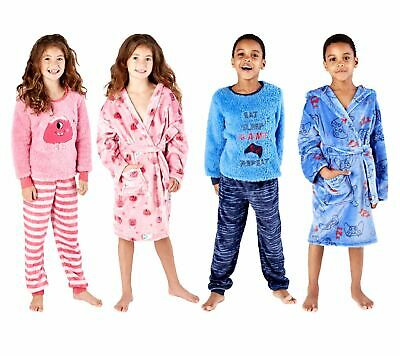 Boys Girls Kids Soft Shaggy Fleece Monster and Gaming Dressing Gown or Pyjamas