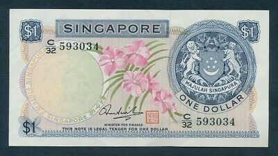 "Singapore: 1972 $1 ORCHID Sig Hon Sui Sen ""WITH SEAL"". Pick 1d AU - Cat UNC $27"