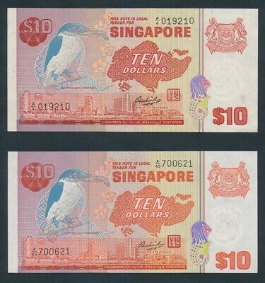 "Singapore: 1979 $10 Bird ""STRAIGHT & SEGMENTED THREADS"" P11a+b AU - Cat UNC $187"