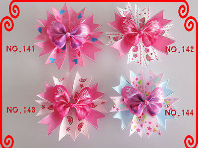 """50 Good Girl Baby 4.5"""" Butterfly Fairy Wing Hair Bow Clip Spring Easter 208 No."""