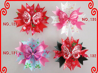 """100 Good Girl Baby 4.5"""" Butterfly Fairy Wing Hair Bow Clip Spring Easter 208 No."""