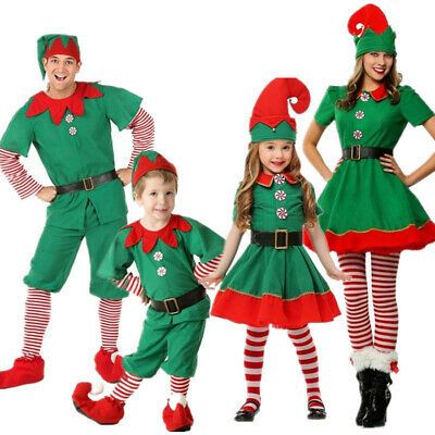 Adult Kids Family Halloween Cosplay Christmas Elf Costume Suit Xmas Dress Party