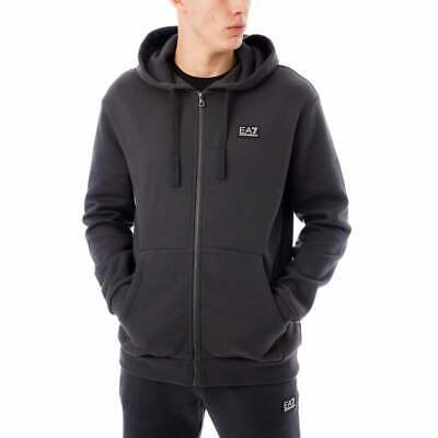 EA7 Armani Mens Badge Logo Full Zip Hoody (Night/ Grey)