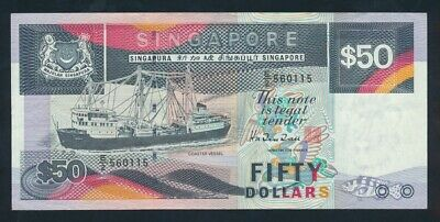 Singapore: 1997 $50 Ship Series Dark Blue MODIFIED THREAD. P36 EF - Cat UNC $133