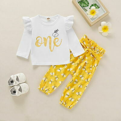 Toddler Baby Girl 1st Birthday Autumn Outfits Romper Tops Pants Leggings Clothes