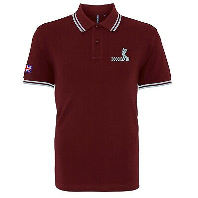 Men's Ska Man Tipped Polo Shirt With Embroidered Logo. Mod, Soul,Two-Tone Retro.
