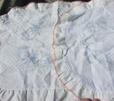 Stamped For Embroidery Table Linens Art Nouveau Deco Floral Daisies Borders Lacy