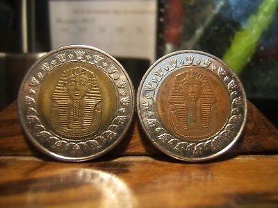 2 (TWO) KING TUT EGYPTIAN  -   Bi-Medal ONE-POUND Coins/Tokens