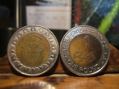 2 (TWO) KING TUT - BOY KING - BIi-Medal ONE-POUND Coins/Tokens