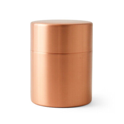 Copper Tea Coffee Caddy Container Azumaya Japanese Sado Seal Up Leaf Case