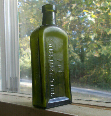 Dark Green Piso's Cure For Consumption (Tb) 1900 Cannabis Bottle Hand Blown