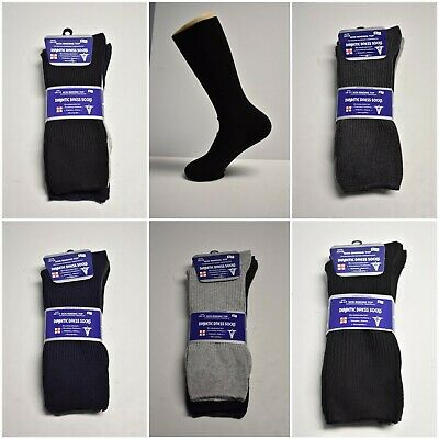 3-6 12 Pr Mens Neuropathy Circulatory Diabetic Dress Socks Asst Color Size 10-13