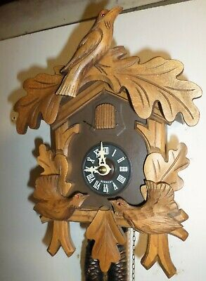 Mint German Hubert Herr Black Forest Dancing Game Birds Carved Cuckoo Clock!
