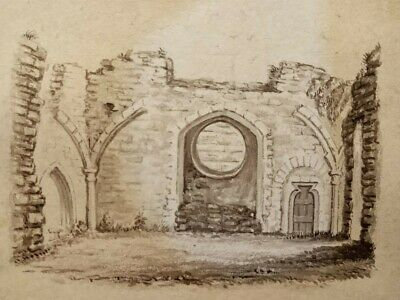 Antique early 19th century ink drawing, British school, gothic church