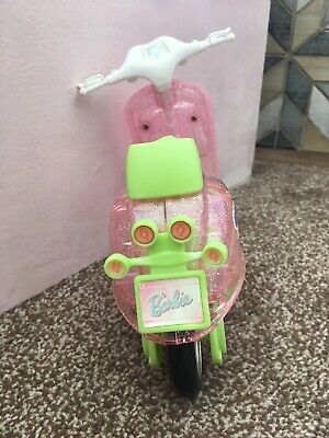 Official Vintage 90's Barbie Scooter Moped Bike Vespa Style Pink & Green Sparkly