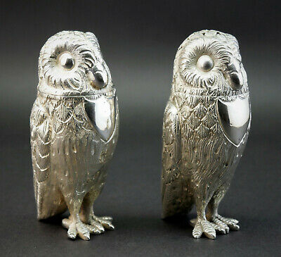 ANTIQUE 19thC ANGLO INDIAN SOLID SILVER NOVELTY OWL SALT AND PEPPER CRUET SET