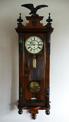 Antique Victorian Vienna Regulator Wall Clock Single Weight Driven Eagle Finial