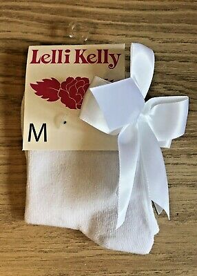 Lelli Kelly Girls Medium White Bow Socks NEW BNWT