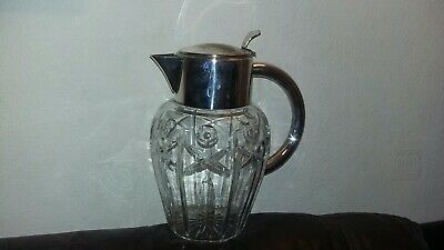 Large Crystal Vintage,White 2Lt , Red Wine Or Water Jug Silver Plated Jug Used