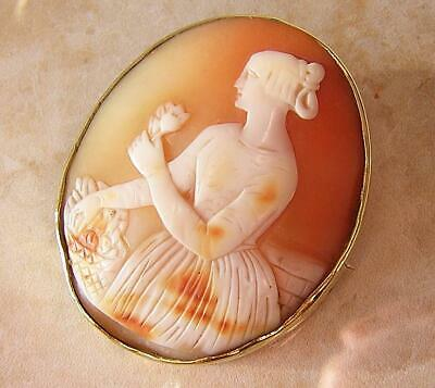 VICTORIAN CAMEO BROOCH PIN of FLOWER MAIDEN in PINCHBECK MOUNT ANTIQUE CAMEO