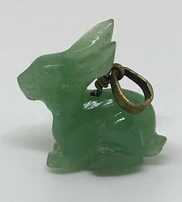 Antique Hand Carved Chinese JADE JADITE Rabbit Bunny Pendant Charm For Necklace