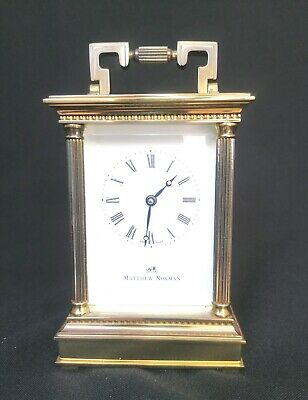 Vintage quality Mathew Norman Brass 8 Day Carriage Clock with original key