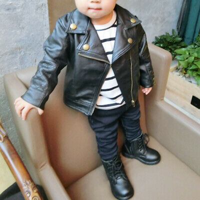 Kids Infant Toddler Boy Girl Autumn Coat Leather Jacket Outerwear Clothes Black