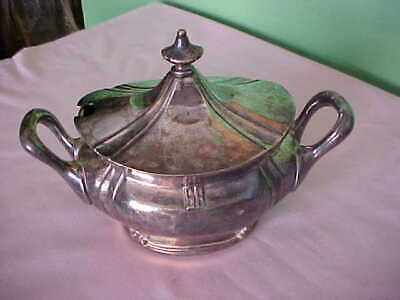 Vintage REED & BARTON double handled SILVER SOLDERED SUGAR BOWl w/lid VG 092-H