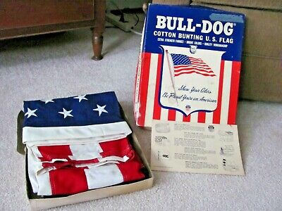 Vintage 1972 BULL DOG Cotton Bunting US American Flag 50 Stars 3' x 5' NOS w Box