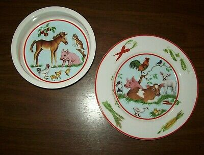 Lynn Chase Designs 2 Pc Barn Dance Childs Childrens Plate And Bowl