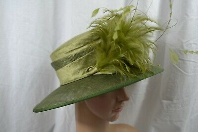 JOHN LEWIS green sinamay and silk occasion hat mother of the bride feather