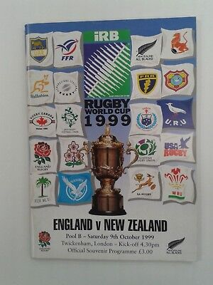 Rugby programme England v New Zealand  All Blacks 1999 World Cup  Pool B match