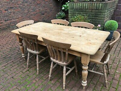 Pine Country Victorian Style Dining Table And Six Chairs